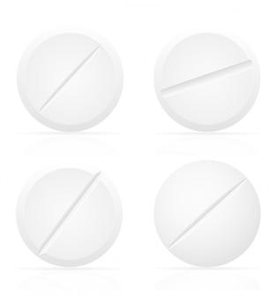 Pillole mediche bianche per l'illustrazione di vettore di trattamento