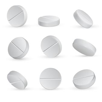 Pillole mediche bianche rotonde in diverse posizioni.