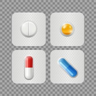 Pillole realistiche farmaci in blister isolati su sfondo trasparente. illustrazione di vitamine, cure mediche o prodotti farmaceutici