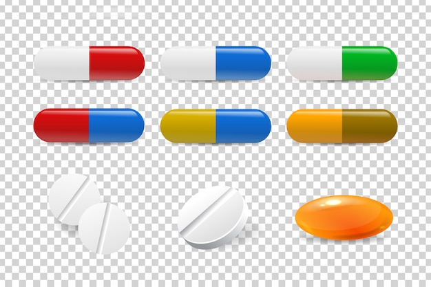 Pillole realistiche isolate per la decorazione e la copertura sullo sfondo trasparente. concetto di medicina, assistenza sanitaria e professione medica.