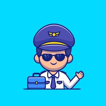 Pilota con la valigia icona del fumetto illustrazione. persone professione icona concetto isolato. stile cartone animato piatto