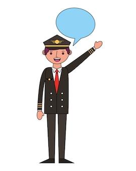 Pilota dell'aeroplano con progettazione dell'illustrazione di vettore del fumetto
