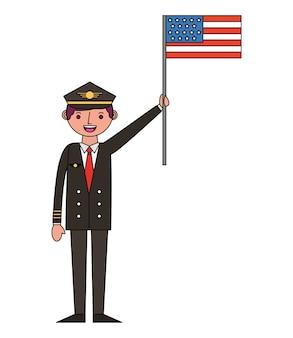 Pilota dell'aeroplano con progettazione dell'illustrazione di vettore della bandiera degli sua