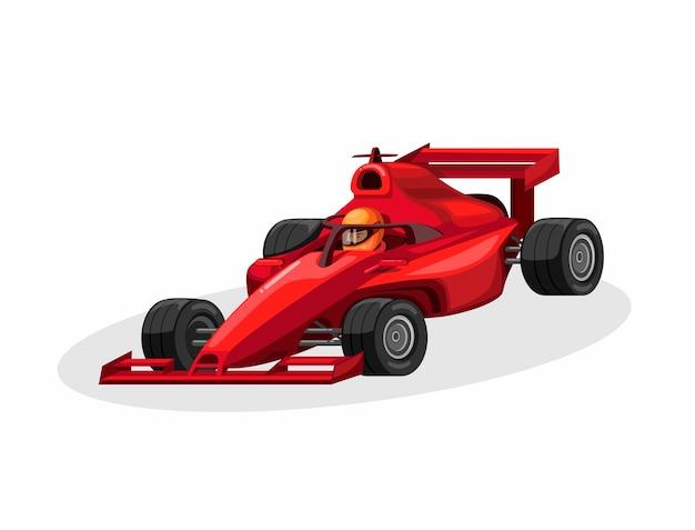Pilota di formula 1 e auto da corsa con aureola aka protezione per la testa di colore rosso. illustrazione del fumetto di concetto della competizione sportiva della corsa su fondo bianco