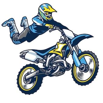 Pilota di motocross facendo il trucco del superman