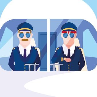 Piloti di aeroplano uomini nella cabina di pilotaggio
