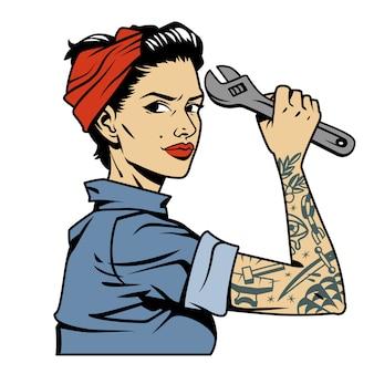 Pin up colorato vintage ragazza meccanico