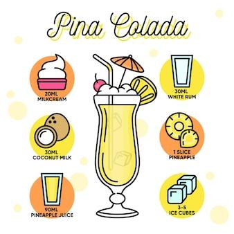 Pina colada cocktail ricetta stile disegnato a mano