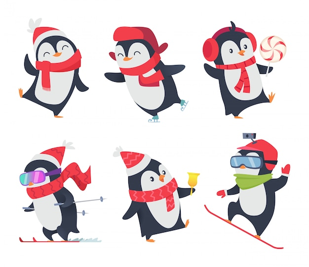 Pinguini carini posa selvaggia dolce degli animali della neve di inverno del bambino dei personaggi dei cartoni animati isolata
