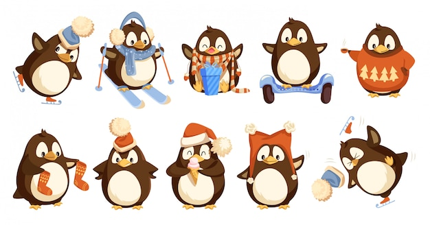 Pinguini che indossano vestiti caldi invernali impostati