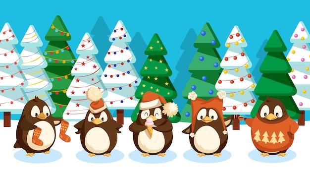 Pinguini in forest pine trees, paesaggio invernale