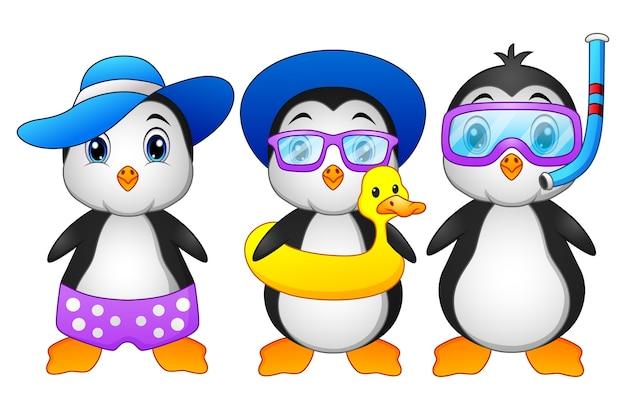 Pinguini simpatico cartone animato in vacanza estiva