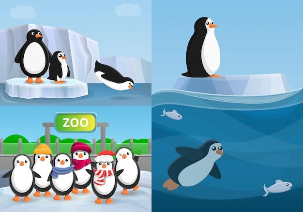 Pinguino banner set, stile cartoon