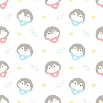 Pinguino carino con fondo senza cuciture colletto