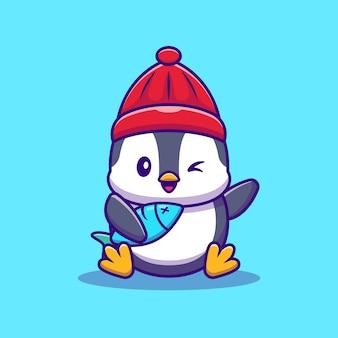 Pinguino carino con pesce fumetto illustrazione vettoriale. animale della fauna selvatica concetto vettore isolato. stile cartone animato piatto