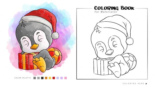 Pinguino carino con regalo indossare il cappello di babbo natale, illustrazione di cartone animato per libro da colorare ad acquerello
