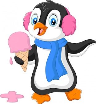 Pinguino cartone animato con paraorecchie e sciarpa mangia un gelato