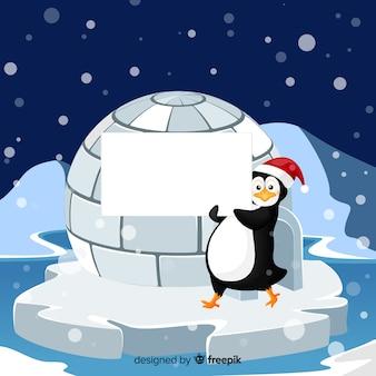 Pinguino che tiene segno in bianco