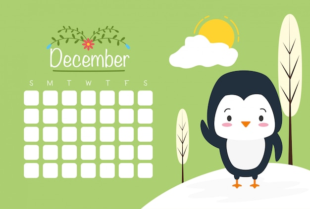 Pinguino con calendario, simpatici animali, stile piano e cartoon, illustrazione