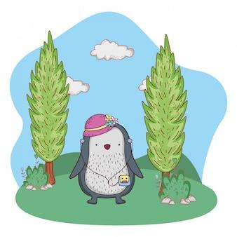 Pinguino con cappello femminile e walkman nel campo
