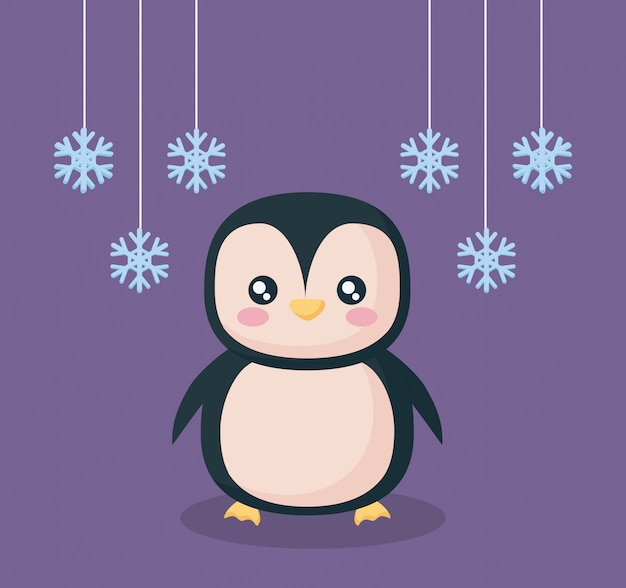 Pinguino con carattere fiocchi di neve