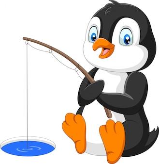 Pinguino del fumetto che pesca sul ghiaccio artico