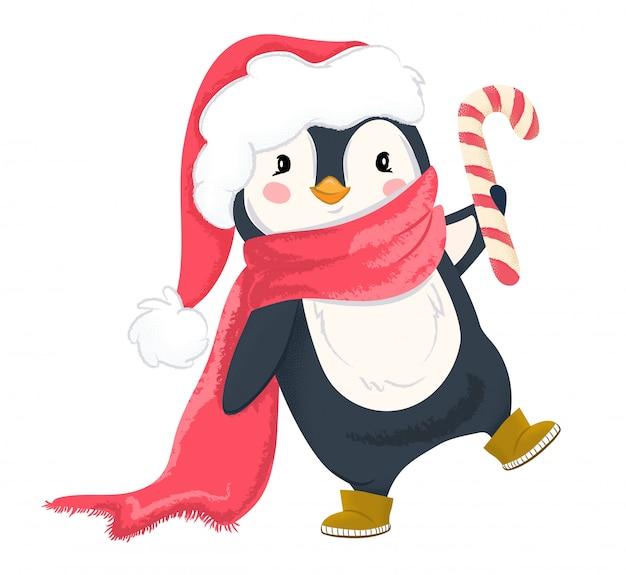 Pinguino in cappello e sciarpa di natale