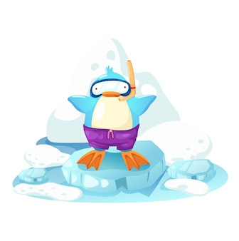 Pinguino su un po 'di ghiaccio