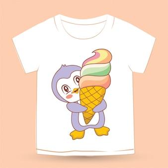Pinguino sveglio del bambino disegnato a mano per la maglietta