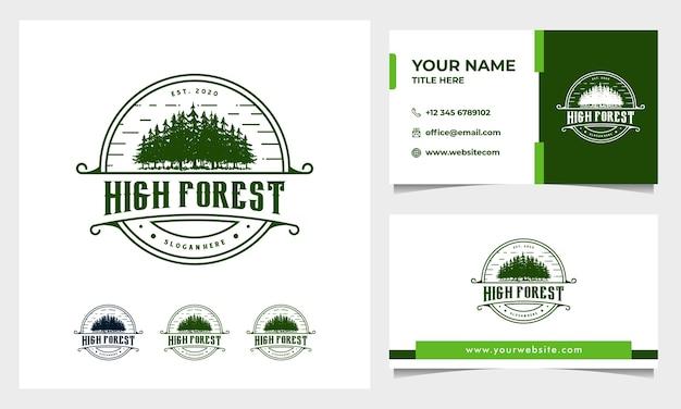 Pino vintage, foresta disegnata a mano logo design con modello di biglietto da visita