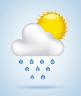 Pioggia cielo sopra illustrazione vettoriale sfondo blu
