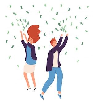 Pioggia di soldi persone. le persone felici che piovono i soldi in dollari monete d'oro contano il concetto fortunato del deposito di finanza di affari della donna dell'uomo ricco
