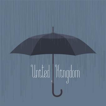 Pioggia e ombrello nel regno unito, illustrazione vettoriale di londra