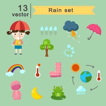 Piovendo set vettoriale
