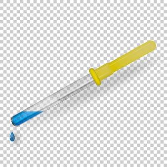 Pipetta medica in vetro trasparente con tubo di gomma.