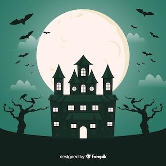 Pipistrelli in una casa di halloween piatta notte di luna piena