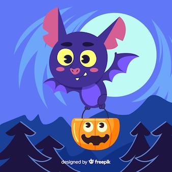 Pipistrello carino volare con un sacchetto di zucca