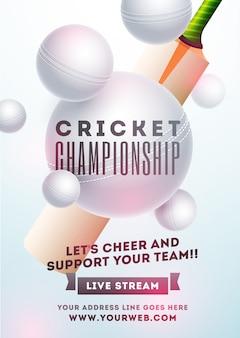 Pipistrello di cricket realistico e palla bianca su sfondo blu cielo