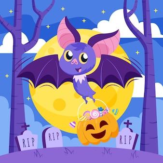 Pipistrello di halloween design piatto