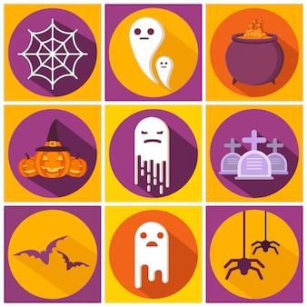 Pipistrello felice di halloween, fantasma, calderone della strega, personaggio icona ragnatela simbolo di vacanza jack testa di zucca sorridente.