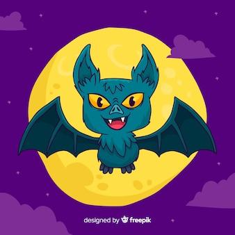 Pipistrello lanuginoso di halloween disegnato a mano