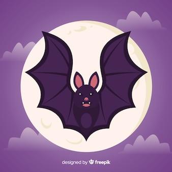 Pipistrello piatto di halloween davanti alla luna piena