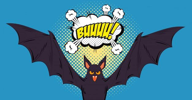 Pipistrello volante pop art in stile halloween
