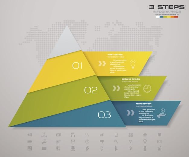 Piramide a 3 gradini con spazio libero per il testo su ogni livello.