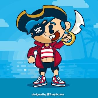 Pirata carattere sfondo cartone animato