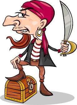 Pirata con illustrazione del fumetto tesoro