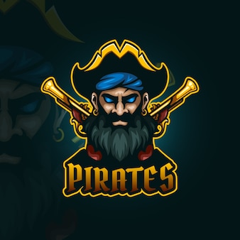 Pirata con pistole a pietra focaia esport logo