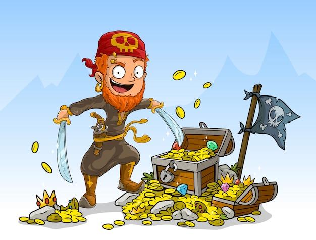 Pirata dei cartoni animati con spade e scrigno del tesoro