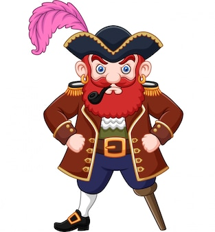 Pirata dei cartoni animati con un tubo di fumo