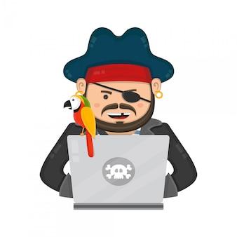 Pirata di internet con un computer portatile e un pappagallo